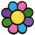 Flower power boho hippie retro love peace weed applique iron-on patch med. S-116