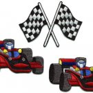 Lot of 3 sports car racing checkered flag formula 1 appliques iron-on patches L2