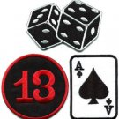 Lot of 3 poker ace of spades dice cards lucky 13 applique iron-on patches L-2
