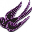 Lavender bird tattoo swallow dove sparrow biker applique iron-on patch S-1036
