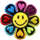 Flower power smiley face boho hippie retro love applique iron-on patch new S-694