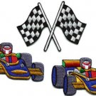 Lot of 3 sports car racing checkered flag formula one appliques iron-on patches