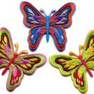 Lot of 3 butterfly insect boho hippie retro love peace applique iron-on patches