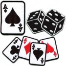 Lot of 3 gambling poker ace of spades dice cards applique iron-on patches L-1