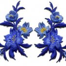 Royal blue flowers pair floral bouquet applique iron-on patches new S-830 WE SHIP ANYWHERE FOR FREE!