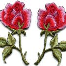Pink roses pair flowers floral boho applique iron-on patch S-550 FREE WORLDWIDE DELIVERY!
