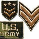 Lot of 3 army military insignia rank biker retro appliques iron-on patches M-5