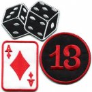 Lot of 3 poker ace dice playing cards lucky 13 applique iron-on patches new L-7