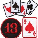 Lot of 3 poker ace of spades lucky 13 playing cards applique iron-on patches L-3