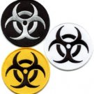 Lot of 3 biohazard danger toxic poison alert biker appliques iron-on patches new