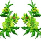 Green yellow flowers pair floral applique iron-on patches new S-829 WORLDWIDE DELIVERY IS FREE!