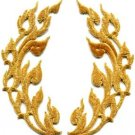 Gold trim flames retro boho chic art deco applique iron-on patches pair S-831