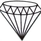 White diamond gemstone carat retro kitsch jewelry applique iron-on patch S-817