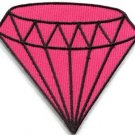 Pink diamond gemstone carat retro kitsch jewelry applique iron-on patch S-819