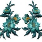 Blue green teal flowers pair floral applique iron-on patches S-804 WE SHIP ANYWHERE FOR FREE!