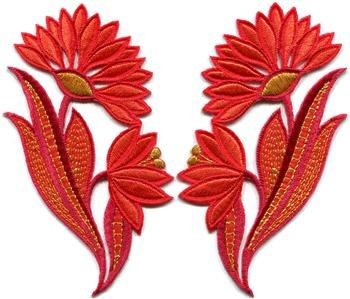 Red orange flowers floral boho granny chic applique iron-on patches pair S-771