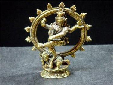 Hindu god Shiva Nataraja dance Nataraj trance brass figurine 2.5 x 3 in. FREE WORLDWIDE DELIVERY!