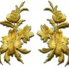 Gold flowers pair floral bouquet boho applique iron-on patches new S-1148 WE SHIP ANYWHERE FOR FREE!