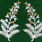 Fern flowers white gold pair floral applique iron-on patches new S-1151 FREE WORLDWIDE DELIVERY!