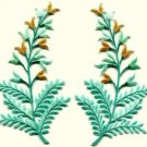 Fern flowers aquamarine gold pair floral applique iron-on patches S-1154 FREE WORLDWIDE DELIVERY!