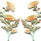 Carnation spray pair flowers floral applique iron-on patch S-731 FREE SHIPPING WORLDWIDE!