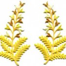 Fern flowers yellow gold pair floral applique iron-on patches new S-1153 WE SHIP ANYWHERE FOR FREE!