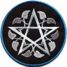 Wiccan pentagram pentacle white witchcraft applique iron-on patch G-161 FREE SHIPPING WORLDWIDE!