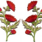 Red orange carnation spray pair flowers applique iron-on patches S-1150 WE SHIP ANYWHERE FOR FREE!