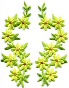 Lemon lime flowers floral boho applique iron-on patches pair S-1159 WORLDWIDE DELIVERY IS FREE!