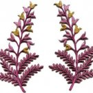 Fern flowers violet gold pair floral applique iron-on patches S-1156 WORLDWIDE DELIVERY IS FREE!