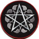 Wiccan pentagram pentacle white witchcraft applique iron-on patch G-160 WORLDWIDE DELIVERY IS FREE!