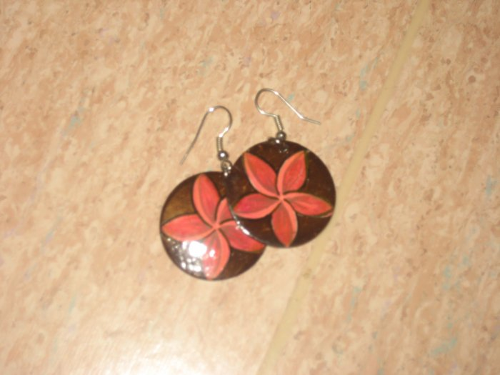 painted flower earrings