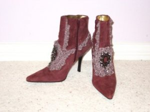 Burgundy Leather Ladies Boots - Size 6