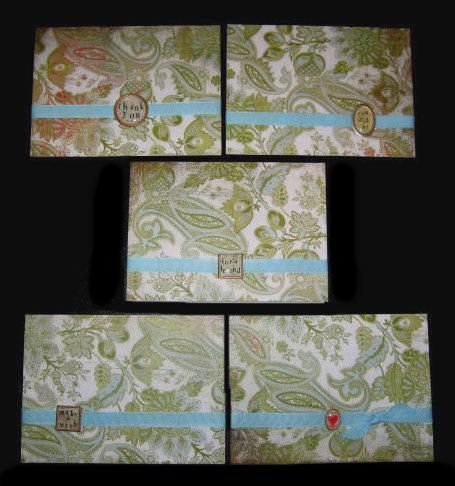 Five 5 Handmade Cards Card Green and Aqua Turquoise Paisley