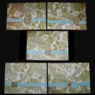 Five 5 Handmade Cards Card Green and Aqua Turquoise Paisley