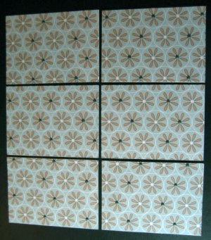 Six 6 Handmade Cards Card Aqua Blue and Brown with brads