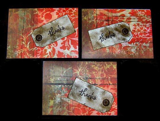 Three 3 Handmade Cards Hand Painted Red