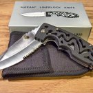Maxam Liner Lock Style with Textured Grip Handle Pocket Knife