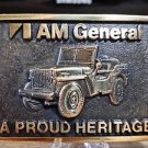 Brass Belt Buckle BTS AM General A Proud Heritage Jeep Made In USA