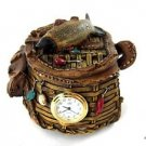 Mini Clock Fisherman Basket Treasure Box