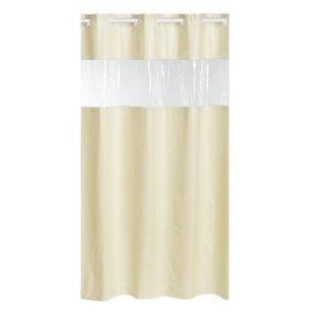 Beige 8 gauge Vinyl Hookless Shower curtain