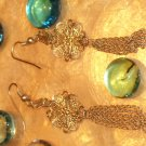 Gold ball filigree dangling earrings-18294