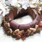 Wooden mixed orange beaded bracelet-25324