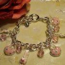 Silver pink slipper charm bracelet-27167