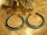 Gold and Turqoise Hoop Earrings-25578