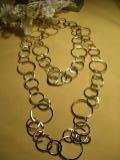 Silver circle hoops long necklace-25723
