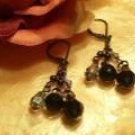 Black pearl hematite dangling earrings-30004