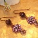 Brass beaded pink dangling earrings-40325