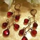 Brass red dangling earrings-51673