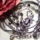 Grey Leather w/ crystal beadswrap bracelet-82320
